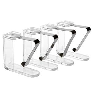 Juego de 4mesa sujetamanteles mesa grapas mesa–Soporte de techo, de metal y plástico transparente