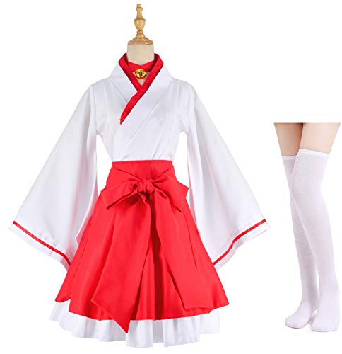 Japanese Anime red and White Kimono Fox Cosplay Costume with Socks Size L(Asia XL)