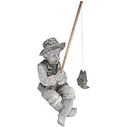 Design Toscano Frederic the Little Fisherman of Avignon Boy Fishing Garden Statue, 15 Inch, Polyresin, Two Tone Stone