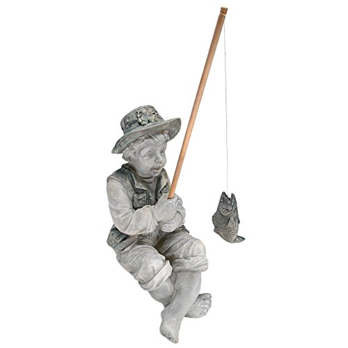 Design Toscano Frederic the Little Fisherman of Avignon Boy Fishing Garden Statue, 15 Inch, Polyresin, Two Tone (Angel Fish Sculpture)