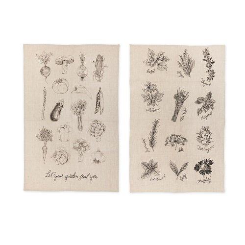 (Rustic Farmhouse Linen Garden Kitchen Towel Set by)
