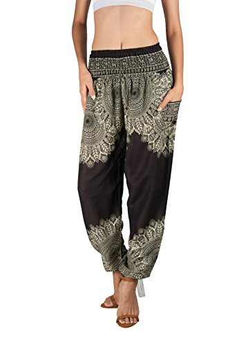 JOOP JOOP Bohemian Tapered Elephant Harem Loose Yoga Pants Onyx Small / Medium -
