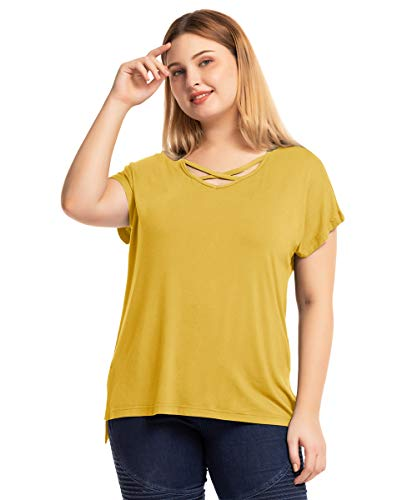 MONNURO Short Sleeve Criss Cross V Neck Tunic Tops Womens Casual Loose Plus Size Summer Tee Shirts with High Low Side Split(Yellow,2X)