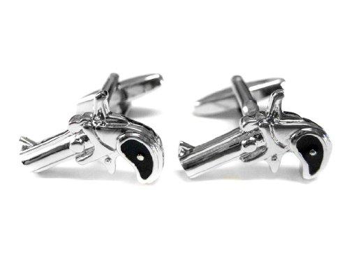 Black and Silver Toned Revolver Pistol Gun Cufflinks