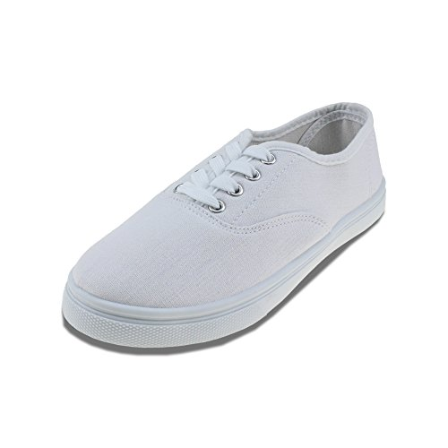 - Maxu White Lace Up Sneakers Canvas Unisex Shoes,Big Kid Size 4