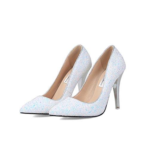 ALUK- Damenschuhe / Pailletten / High Heels / Spitz / Rough mit einem einzigen Schuhe / Hochzeitsbankett / Brautjungfer Hochzeitsschuhe ( Farbe : Pink , größe : 37-Shoes long235mm ) Weiß