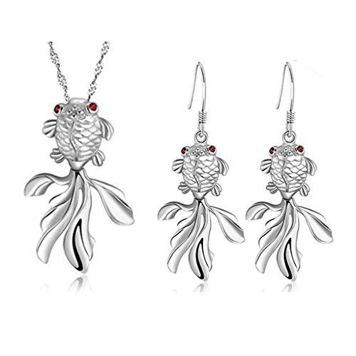 14k Goldfish Hook Earrings (KnSam Women Platinum Plate Necklace Earrings Set Goldfish Red Eye Size 9 Crystal [Novelty Sets])