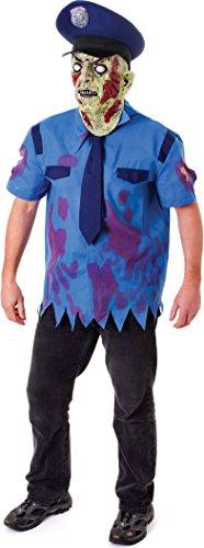 Men's Zombie Cop Costume With (Zombie Cop Halloween)