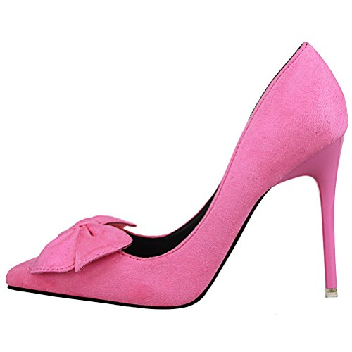 High Toe Rose Heels Women's Suede vusum Faux Pumps Pointed Bowknot tZgqcA