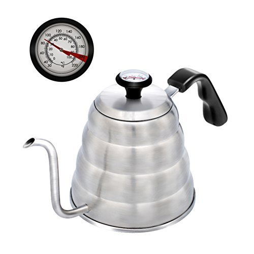 Pour Over Coffee Kettle Tea Kettle, 1.2L Stainless Steel, Thermometer Build in -Perfect for Temperature Control,ECO-Friendly-DIY your Unique Coffee,Safe to use on Gas Electric and Induction Stovetop