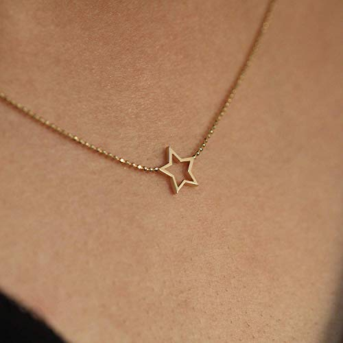 Star Charm Choker, Gold Choker, 14K Solid Gold Star Choker, Gold Star Necklace, Choker Necklace (White Necklace Engagement)