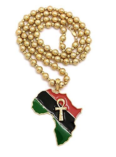 Mens Large Ankh Cross in Africa Map Shape Pendant Moon Cut Gold Bead, Black Wood Bead Chain Necklace (Moon Cut Gold Bead) (Pendant Large Ankh)