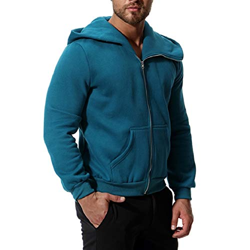 RkBaoye Thicken Green Bomber Jacket Mens Zip Blackish Long with Solid Hooded Sleeve rnxr0S7Rqw
