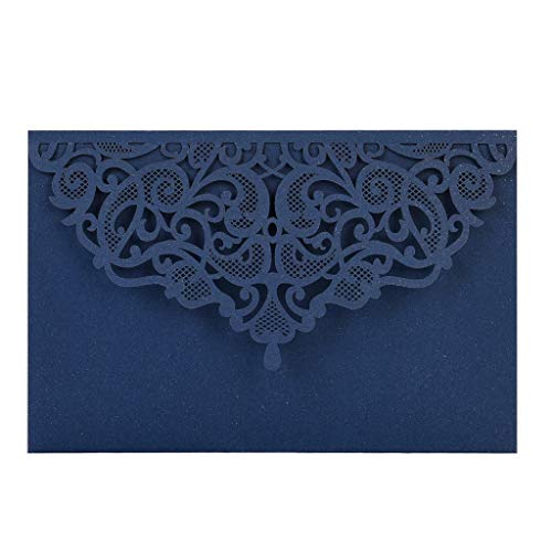 AHAYAKU European Openwork Wedding Invitation Creative Birthday Card Invitation 10pcs Blue (Paisley Wedding Invitations)