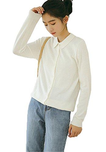 JOTHIN Autunno Donna Maglia Cardigan Collo alto Camicetta Manica lunga Camicioni Tinta Unita Student Knit Camicia Bianco