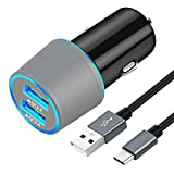 Fast USB C Car Charger, Compatible for Samsung Galaxy S10+/S10e/S10/S9/S9 Plus/S8/S8 Plus/S8 Active/Note 9/Note 8, Quick Charge 3.0 Dual USB Rapid Car Charger with Type C Cable 3.3ft