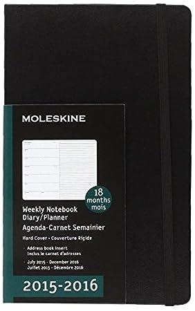 Moleskine 11357 - Agenda 18 meses, 2015-2016, semanal, tamaño grande, color negro