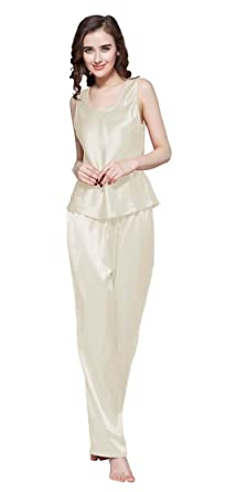 b6a5a910b6 LilySilk Women s 100 Pure Silk Camisole Pajama Set Long Sleeveless 22 Momme  Mulberry Silk Beige Size