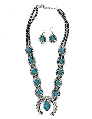 Jayde N' Grey Navajo Turquoise Southwestern Squash Blossom Necklace & Lace Jewelry Bag (Turquoise Long Antiqued)