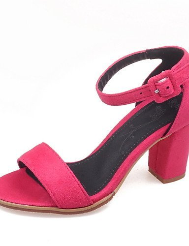 ShangYi Women's Shoes Chunky Heel Open Toe Sandals Dress Black / Gray / Coral fuchsia yWJ96