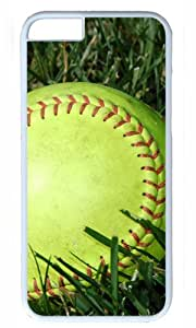Softball in Grass Large DIY Hard Shell White Best Fashion iphone 6 plus Case