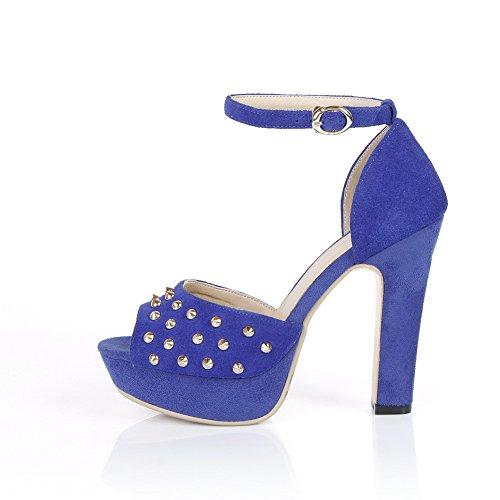 AmoonyFashion Womens Buckle High-Heels Imitated Suede Solid Peep Toe Sandals Blue