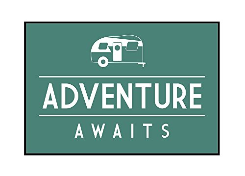 Adventure Awaits - Retro Camper - Simply Said (24x16 Framed Gallery Wrapped Stretched Canvas) by Lantern Press