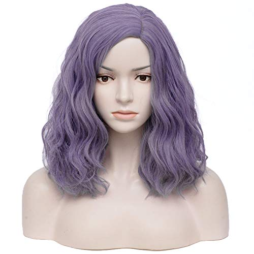 TopWigy Purple Gray Cosplay Wig Medium Length Curly Wave Colorful Synthetic Heat Resistant Hair Wigs Costume Party Anime Fun Bob Wigs for Women (Purple Gray 16