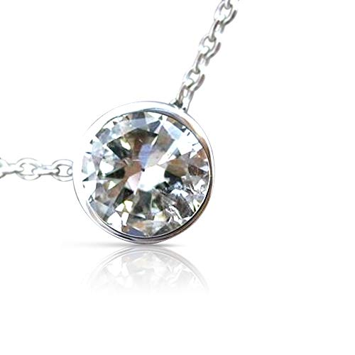 Milano Jewelers .79CT Diamond 14KT White Gold 3D Bezel Solitaire Pendant Necklace #25605