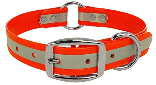 (Orange Reflective Dog Collar with Heavy Duty Center Ring | for Small, Medium, Large, and XL Dogs)