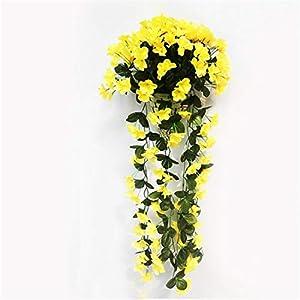 JONARO 2 PCS Artificial Flower Violet Vine Orchid Silk Flower Vines Wall Hanging Basket Flower Decoration Simulation 110