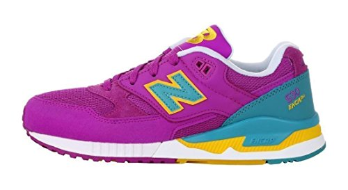 Nuovo Equilibrio Womens W530 Classic Running Fashion Sneaker Viola Cactus Flower / Teal-giallo