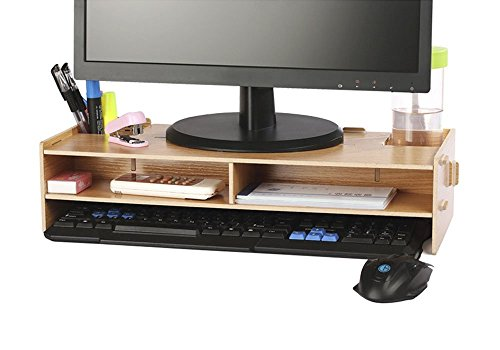 Computer Monitor Stand, crayfomo Desktop Monitor Riser TV Stand, with Slots for Office Supplies and Storage Space for Keyboard and Mouse, Wide Screen Stand Riser for Computer Monitor/Laptop/TV/Printer