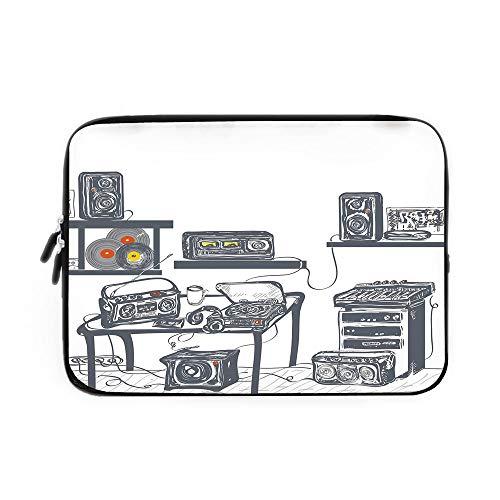 Modern Laptop Sleeve Bag,Neoprene Sleeve Case/Recording Studio with Music Devices Turntable Records Speakers Digital Illustration/for Apple MacBook Air Samsung Google Acer HP DELL Lenovo Asus