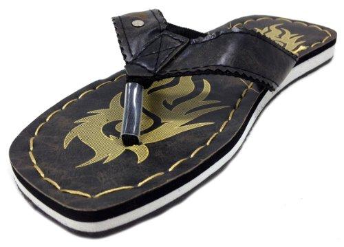 Schonfeld Mens Rem Designer Utskrifts Sport Sandaler Svart