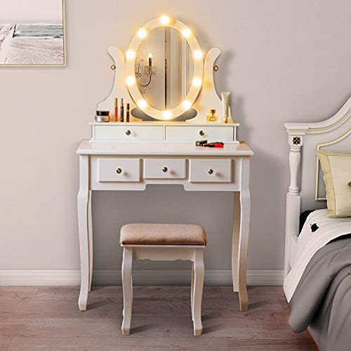 LED Vanity Table with 360 Rotating Oval Makeup Mirror,5 Drawers,Removable Top Organizer Multi-Functional Writing Desk Padded Stool with Cushioned Stool White