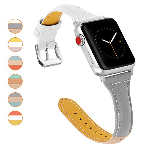oceBeec Leather Bands Compatible with Apple Watch Band 38mm 40mm 42mm 44mm, 3 Colors Combination Supple Strap Replacement Wristband for Iwatch Series 4 3 2 1 (White/Gray/Apricot, 38mm/40mm)