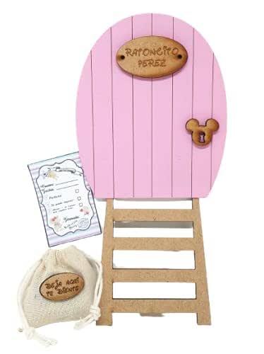 Puerta rosa Ratoncito Pérez, con escalera, saquito para el diente y certificado. Producto artesanal hecho en España