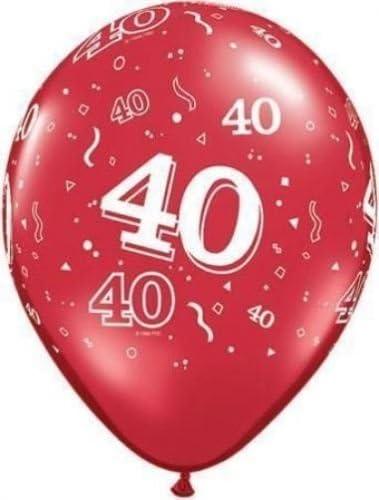 Amazon.com: Edad 40/40º cumpleaños/aniversario Rojo Rubí ...