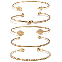 I'S ISAACSONG Yellow Gold Plated Inspirational Love Knot Stackable Open Cuff Bangle Bracelet Set for Women and Girls