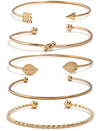 acff4e196 Yellow Gold Plated Inspirational Love Knot Stackable Open Cuff Bangle  Bracelet Set for Women and Girls