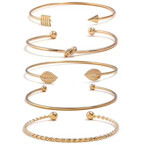 I'S ISAACSONG Yellow Gold Plated Inspirational Love Knot Stackable Open Cuff Bangle Bracelet Set for Women and Girls (Love Knot, Leaf, Arrow 5 Pcs Set)