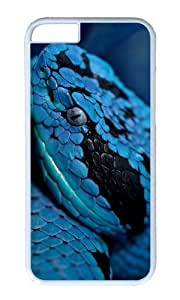 MOKSHOP Adorable Blue Snake Hard Case Protective Shell Cell Phone Cover For Apple Iphone 6 (4.7 Inch) - PC White