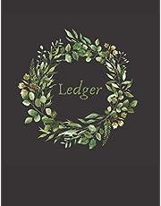 Accounting Ledger: Stylish Black & Green Wreath Ledger