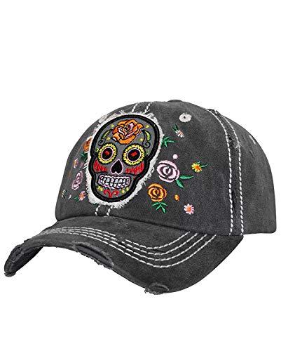 K&B Adjustable Sugar Skull Cadet Cap Hat (Black Skull 1)
