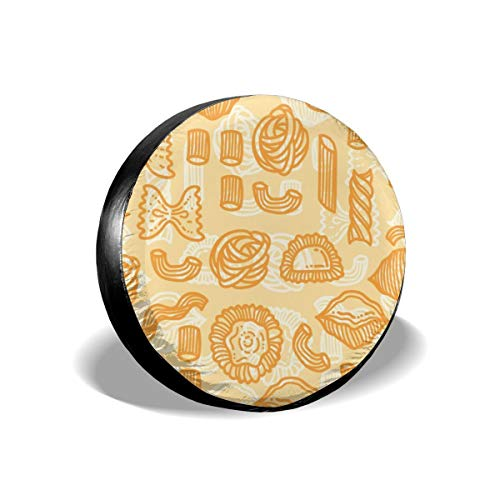 Spare Tire Cover Orange Food Pattern WaterProof Dust-proof Universal Wheel Cover,Fit For For Jeep,Trailer, RV, SUV 14 Inch]()