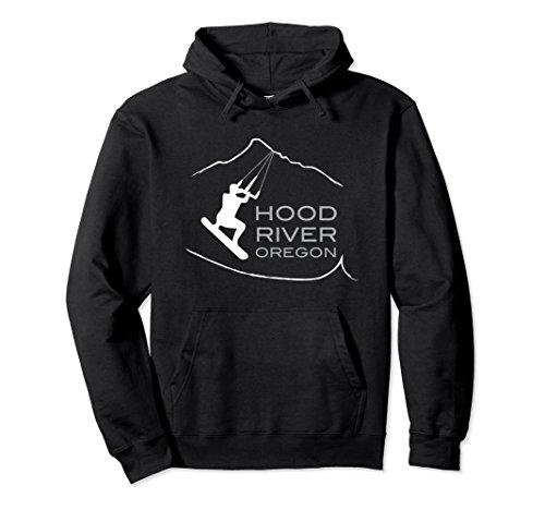 Kitesurfing Mens Hoodie - Unisex Kiteboarding Hoodie Hood River Oregon, Kitesurfing Gifts Medium Black