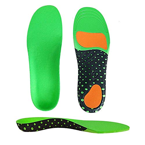 KAILEDI Sports Insoles - Unisex Full Length Arch Support Orthotics Insoles, Heel Pain Relief, Shock Absorption for Walking, Running and Hiking, Cuttable Size(Green,Men8-13)