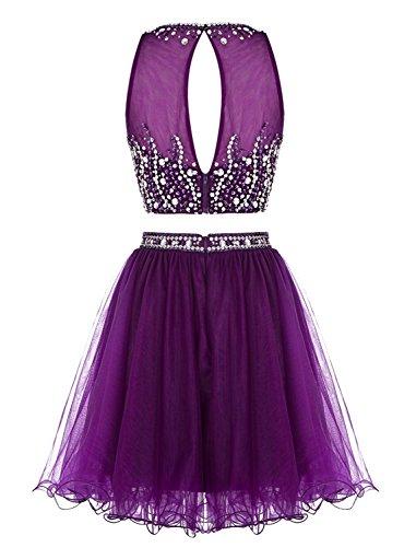 Abendkleider Cocktail Heimkehr Ballkleid 2016 Lavender Pieces Dress Two Kurz Fanciest wZqBg4E