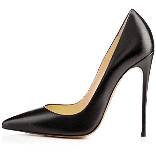 High Platform Pointy Wedding toe Heels Party Stiletto AIWEIYi Shoes Women's Blackpu Pumps Dress nHOqW